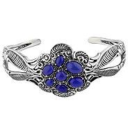 Carolyn Pollack Sterling Blue Chalcedony Cluster Cuff Bracelet - J314476