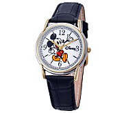 Disney Mens Cardiff Mickey Leather Strap Watch - J315576