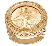 14K/22K Gold Liberty Coin Bead Border Ring - J317676