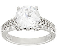Diamonique 100-Facet 3.65 cttw Solitaire Ring, Platinum Clad - J317976