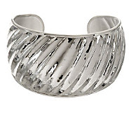 As Is Ultra Fine Silver Large Hammered & Ribbed Cuff, 27.7g - J318576