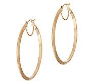 14K Gold 1-1/2 Knife Edge Round Hoop Earrings - J319576