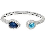 Judith Ripka Sterling_3.00 cttw Blue Topaz & Doublet Cuff Bracelet - J323176