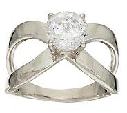 Diamonique 2.00 cttw X Ring, Platinum Clad - J324076
