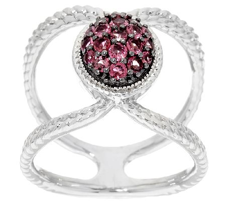 Pave' Exotic Gemstone Sterling Silver Elongated Ring - J324376