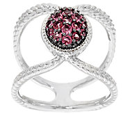 Pave Exotic Gemstone Sterling Silver Elongated Ring - J324376