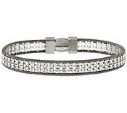 As Is VicenzaSilver Sterling Double Row Crystal Tennis Bracelet - J325276
