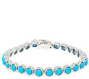 Sleeping Beauty Turquoise 6-3/4 Sterling Diamond Cut Tennis Bracelet - J326476