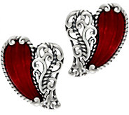 Carolyn Pollack With Love Sterling Carved Heart Earrings - J329276