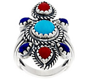 Sterling Silver Multi-Gemstone Elongated Ring by American West - J330476