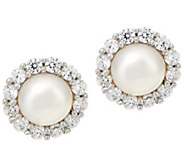 Diamonique and Cultured Pearl Stud Earrings, Sterling - J330576