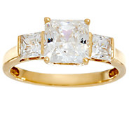 Diamonique Three Stone Princess Cut Ring, 14K Gold - J331376