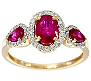 As Is Oval & Pear Cut 3Stone Mozambique Ruby & Diamond Ring 14K, 1.00 cttw - J332876