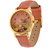 C. Wonder Rotating Birds & Bees Dial Leather Strap Watch - J333076
