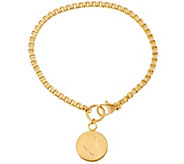 Yellow Bronze Polished Initial Disc Bracelet by Bronzo Italia - J333676