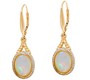 Ethiopian Opal Rope Design Leverback Earrings 14K Gold - J334976