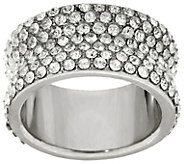 Stainless Steel Concave Pave Crystal Eternity Band Ring - J335376