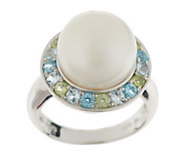 As Is Honora Cultured Pearl 11.0mm Button & Multi-Gemstone Sterling Ring - J335476