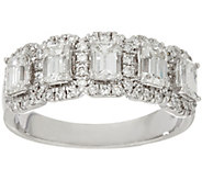 As Is Halo 5- Stone Emerald Cut DiamondBand Ring, 1.30 cttw 14K Affinity - J346576