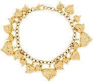 Vicenza Gold 7-1/4 Heart Charm Bracelet 14K Gold, 9.9g - J348176