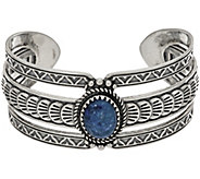 Sterling Silver Oval Shape Denim Lapis Bold Cuff by American West - J348476