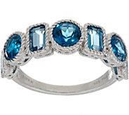 Judith Ripka Sterling Seven Stone 2.60 cttw London Blue Topaz Ring - J349976