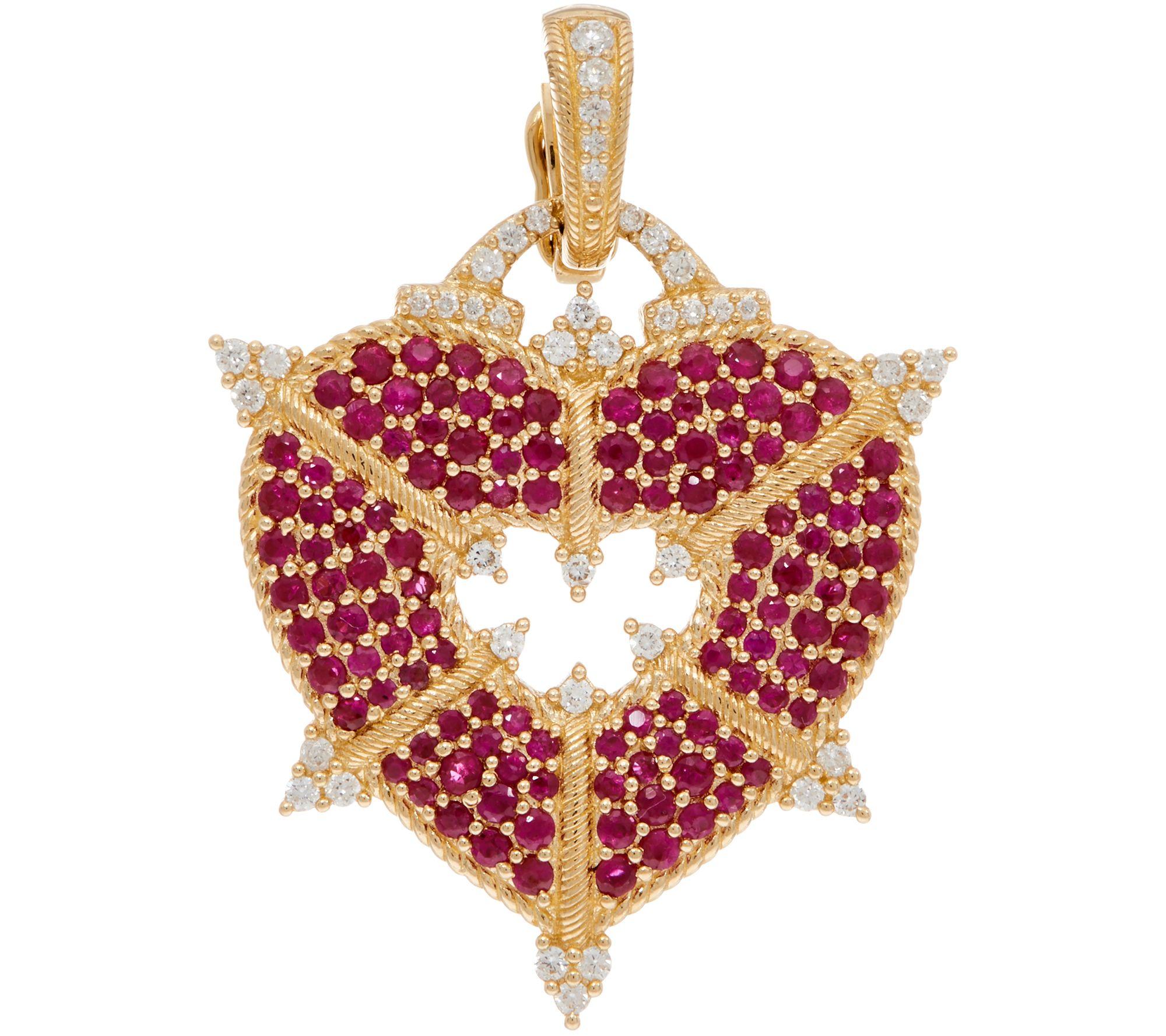 Pendants gold silver gemstone more qvc judith ripka 14k gold gemstone diamond heart enhancer j350276 mozeypictures Image collections
