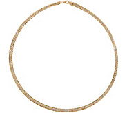 Italian Gold 20 Tri-Color Omega Necklace 14K Gold, 18.7g - J350976
