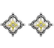 Barbara Bixby Sterling & 18K Flower Button Earrings - J376876