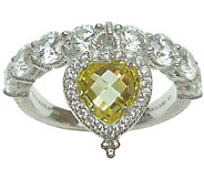 Judith Ripka Sterling Heart Dangle Diamonique Ring - J379476