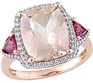 14K 4.9ct Morganite & Pink Tourmaline 1/3ct Diamond Halo Ring - J380376