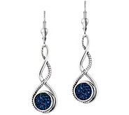 Carolyn Pollack Sterling Round Drusy Drop Earrings - J381276