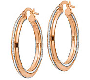 Italian Gold Glimmer Infused Texture Round HoopEarrings 14K - J381676