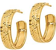 Italian Gold Diamond Cut Hoop Earrings, 14K - J381776