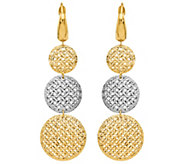 Italian Gold Two-Tone Mesh Dangle Earrings 14K,4.4g - J382176