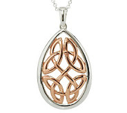 Solvar Sterling Silver & 18K Rose Gold Plated Celtic Knot Pendant - J273977