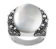 Michael Dawkins Sterling and Mother-of-Pearl Starry Night Doublet Ring - J277077