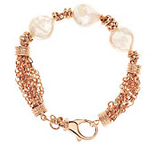 Honora Cultured Pearl 14.0mm Coin 8 Multi-chain Bronze Bracelet - J277877
