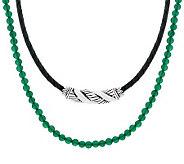 JAI Sterling Slide Leather & Gemstone Bead Necklace - J284077