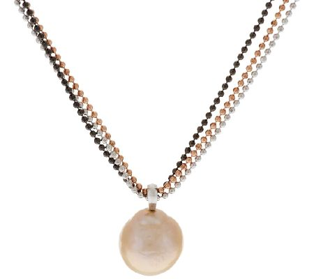 Honora Ming Cultured Pearl Pendant w/ Sterling Triple Chain