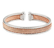 VicenzaSilver Sterling Two-tone Woven Mesh Cuff - J287277