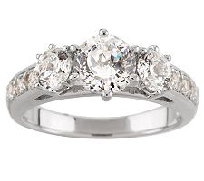 Epiphany Diamonique 100-Facet 2.80 ct tw 3-stone Ring