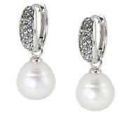 Honora Cultured Pearl 11.0mm and Crystal Sterling Drop Hoop Earrings - J288177
