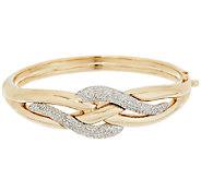 14K Gold 1.00 ct tw Diamond Swirl Design Large Bangle - J289477