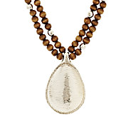 Susan Graver Beaded Necklace with Teardrop Pendant - J291377