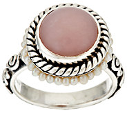 Artisan Crafted Sterling Pink Opal & Cultured Pearl Ring - J294377