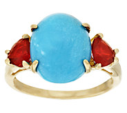 Sleeping Beauty Turquoise & 0.40 ct tw Fire Opal Ring, 14K Gold - J294877
