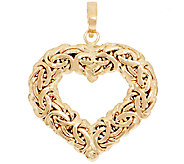 14K Gold Polished Byzantine Heart Enhancer - J295377