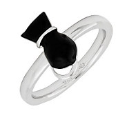 Simply Stacks Sterling Polished Black Epoxy Enamel Cat Ring - J299177