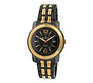 Peugeot Mens Goldtone and Black Bracelet Watch - J304077